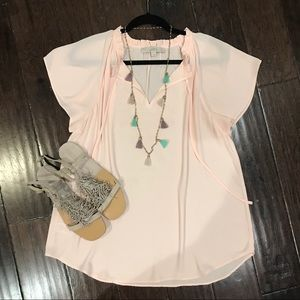 Light Pink Short Sleeve Blouse